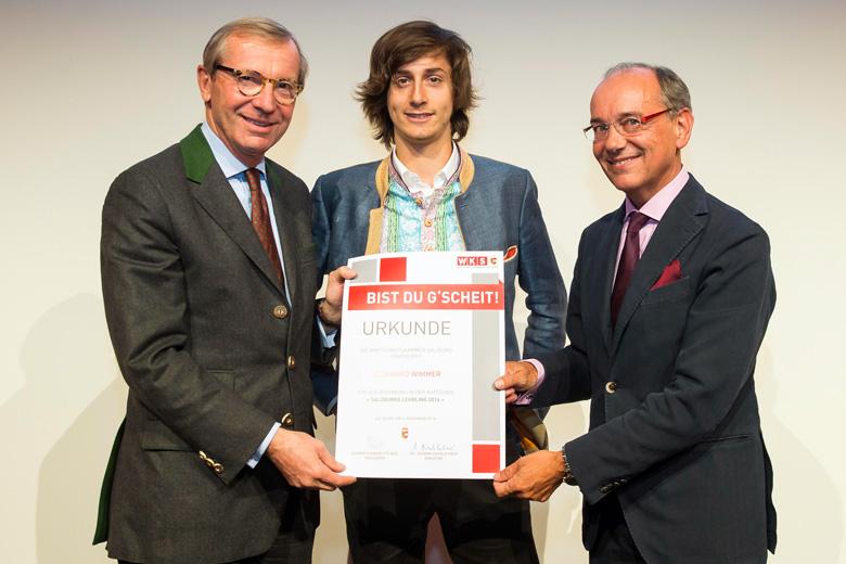 Leonhard Wimmer mit Landeshauptmann Wilfried Haslauer und WKS-Vizepräsident Peter Genser